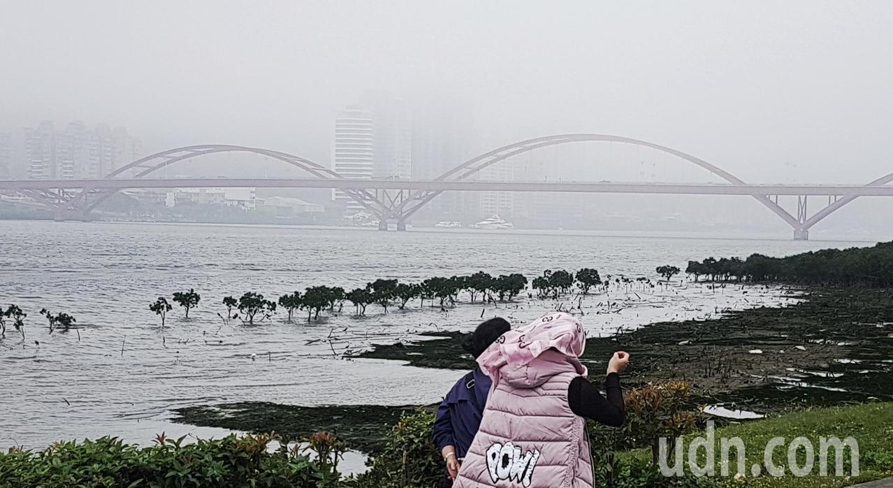 台北空氣品質仍差,到處一片霧茫茫,即使是近在百公尺的關渡橋,都快要看不到。記者陳...