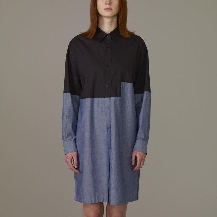 Kim Jones與GU合作系列女裝色塊襯衫連身裙,約990元。圖/GU提供