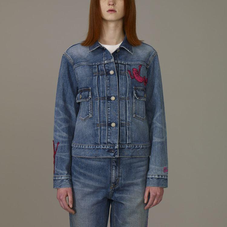 Kim Jones與GU合作系列女裝牛仔外套,約1,790元。圖/GU提供