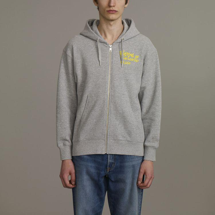 Kim Jones與GU合作系列男裝寬版休閒連帽拉鍊外套,約990元。圖/GU提...