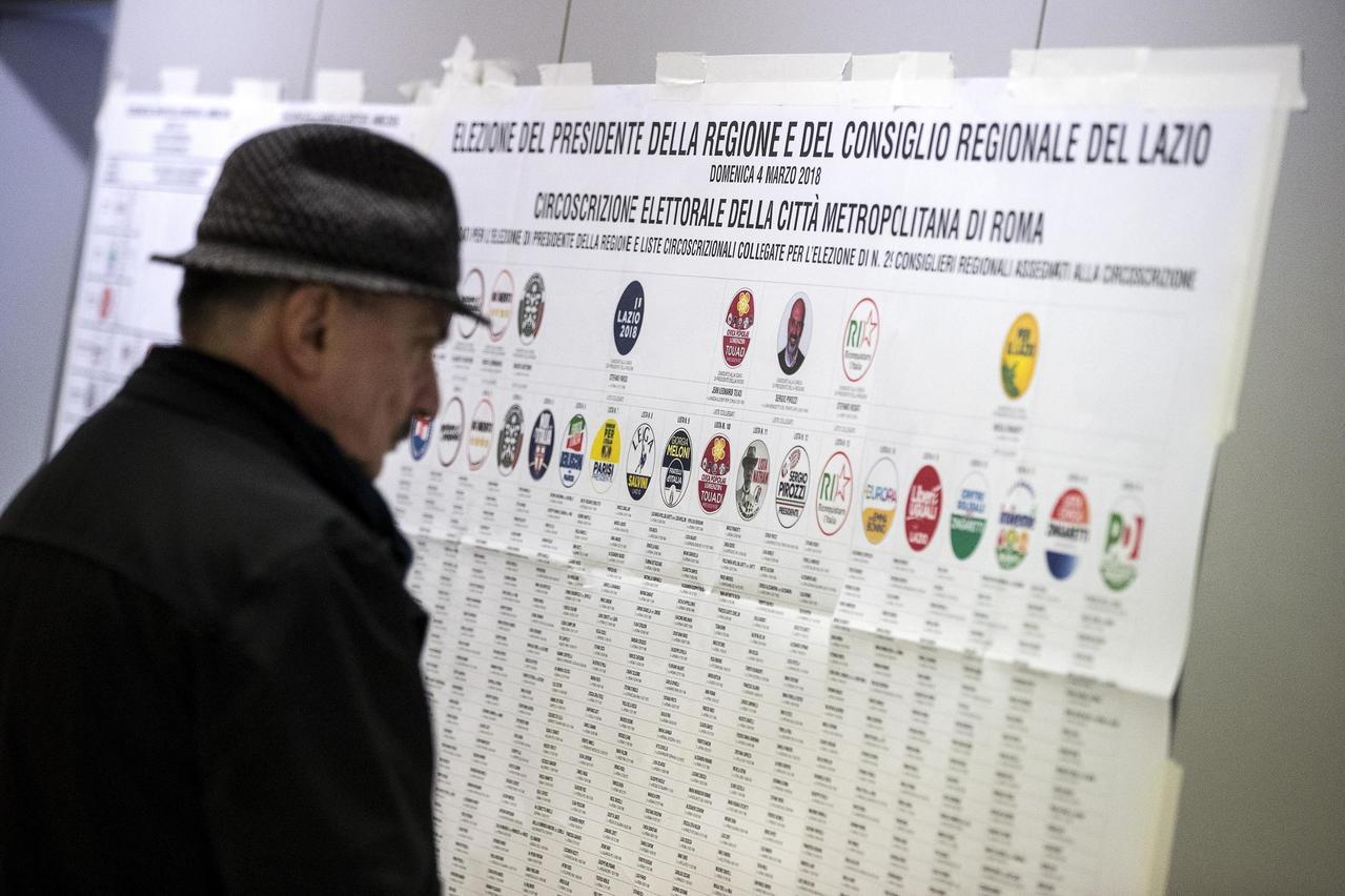 義大利國會大選「無政黨過半」,料將出現僵局國會。美聯