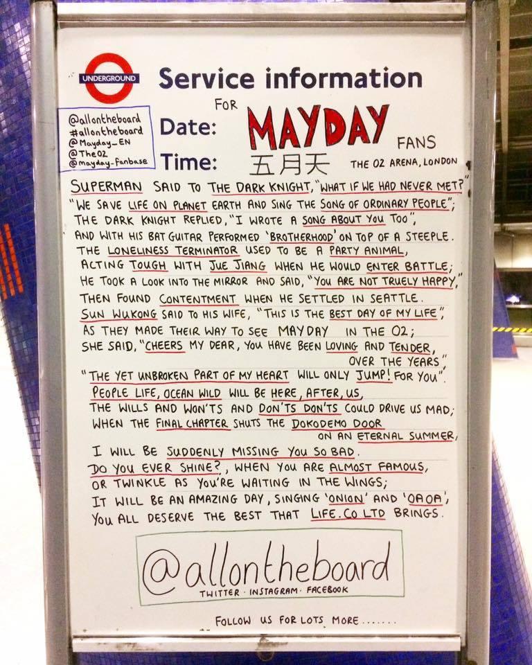 英國地鐵站以五月天33首英文歌名串成有趣的演唱會宣傳短文。圖/摘自五月天臉書