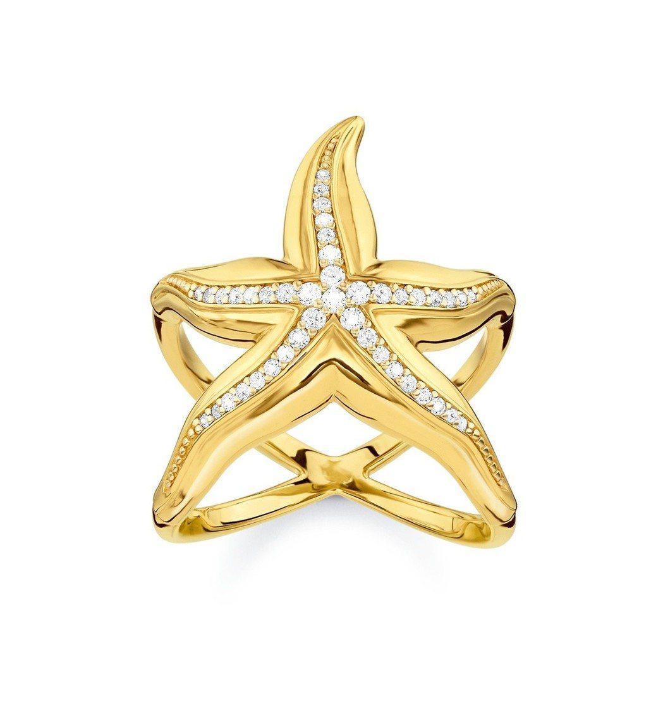 純銀鍍金海星戒指,12,800元。圖/Thomas Sabo提供