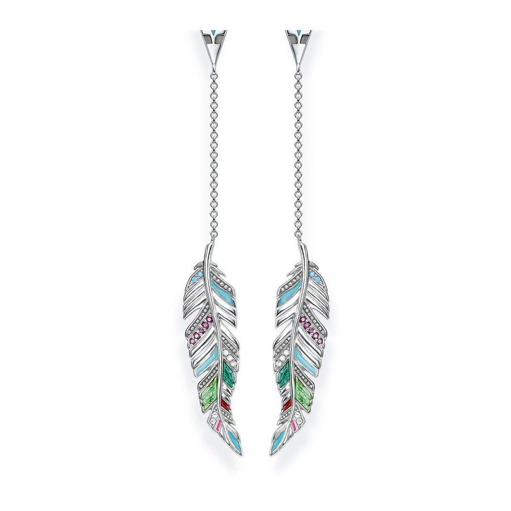 純銀羽毛垂墜耳環,8,580元。圖/Thomas Sabo提供