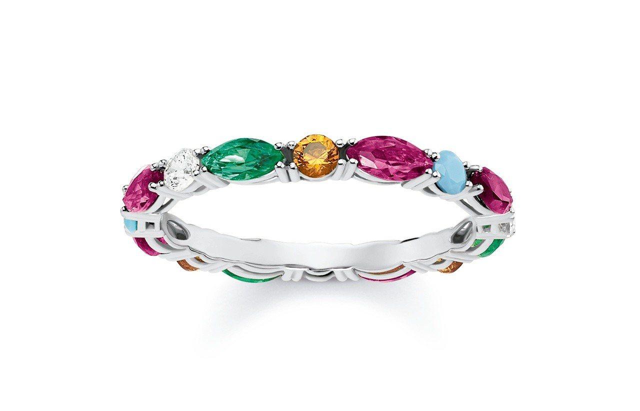 純銀彩石戒指,6,680元。圖/Thomas Sabo提供
