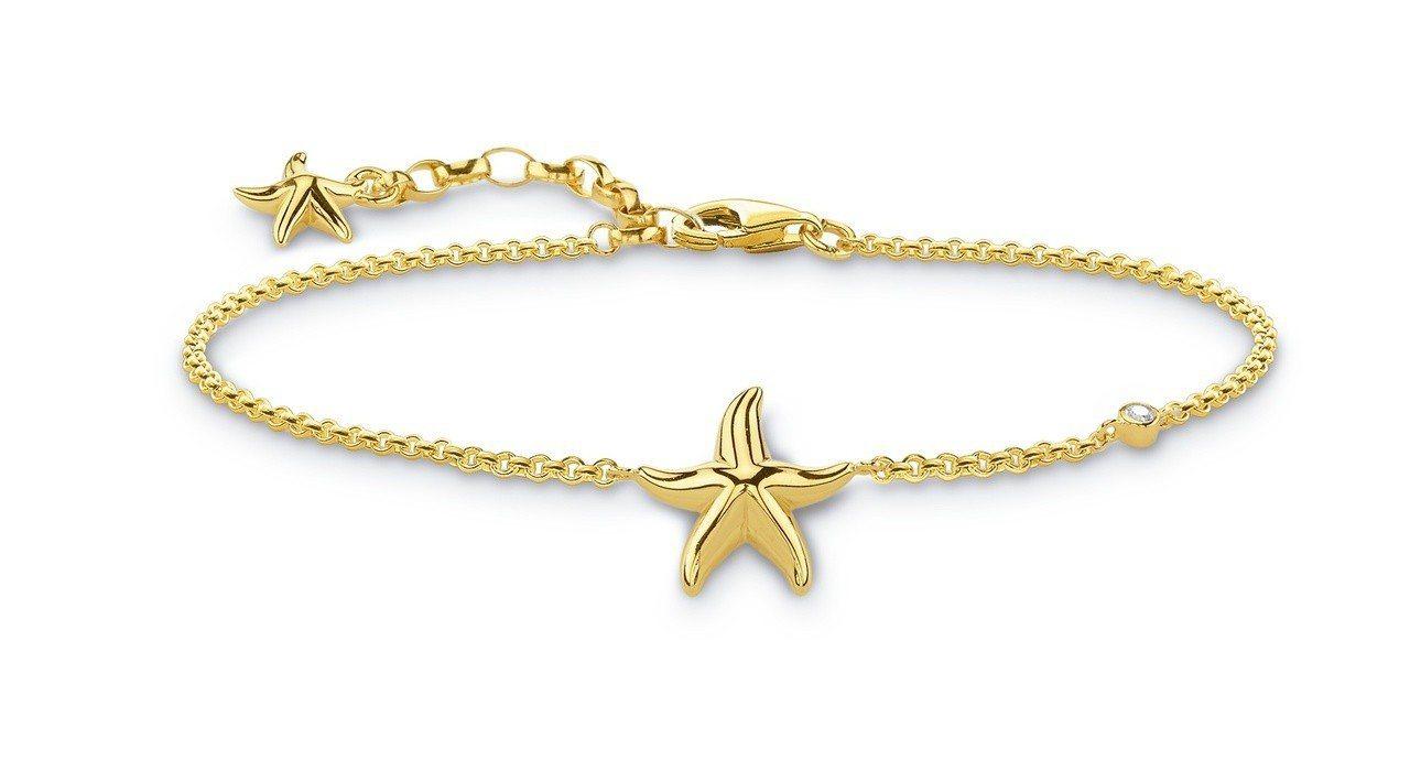 純銀鍍金海星手鍊,7,680元。圖/Thomas Sabo提供