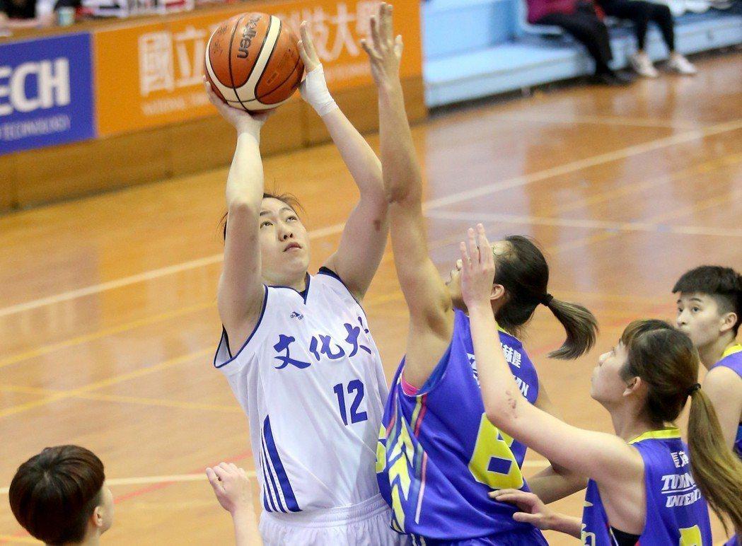 UBA大專籃球聯賽在台灣科大進行女子組賽事,文化大學蘇怡菁(左)攻下生涯新高的2...