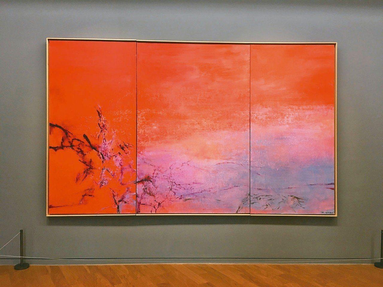 畫家趙無極為第三任妻子法蘭斯瓦絲所畫的《向法蘭斯瓦絲致敬》。 記者何定照/攝影