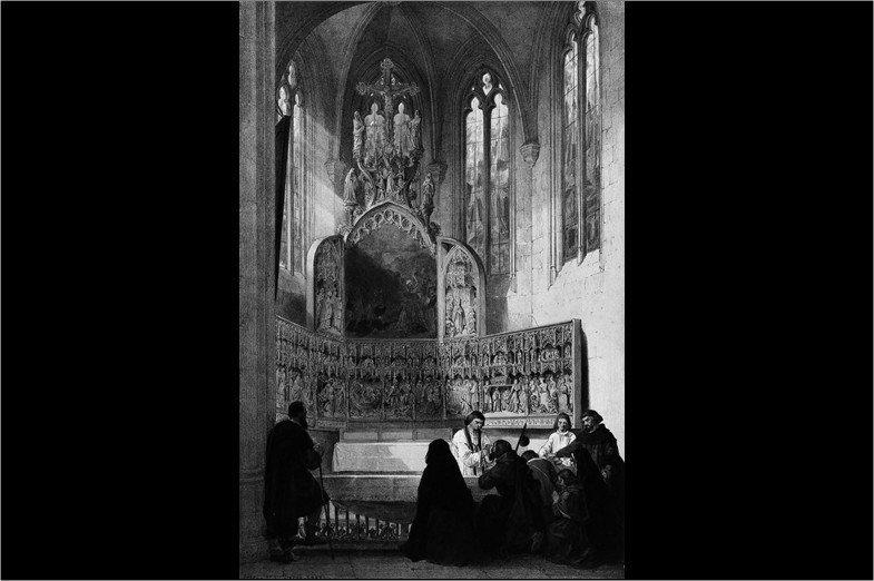 這幅十九世紀版畫,呈現朝聖者在赫爾村祀奉聖迪芙娜的小禮拜堂內恭領聖餐的情形。從中世紀起,赫爾村聖壇就以治療瘋人與智能缺陷者聞名。十九世紀仿哈夫(I.Haghe)之作。 圖/左岸文化提供