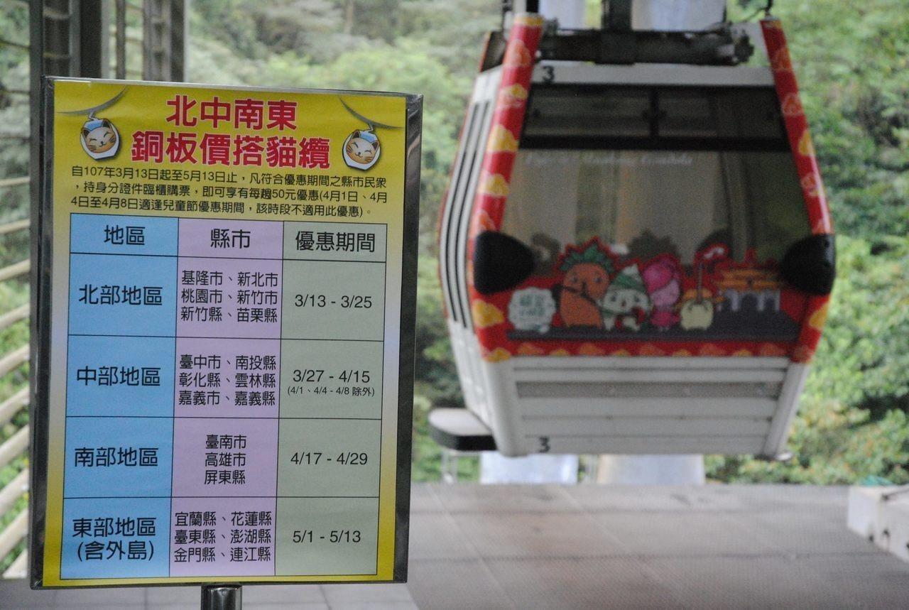 搶春季出遊人潮,台北市貓空纜車今年再次推出外縣市「銅板價」優惠。圖/北捷公司提供