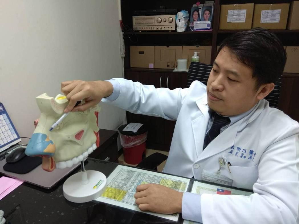 彰化醫院整形外科醫師呂明川說明阮姓傷患的鼻子受傷情形及整形手術過程。記者何烱榮/...