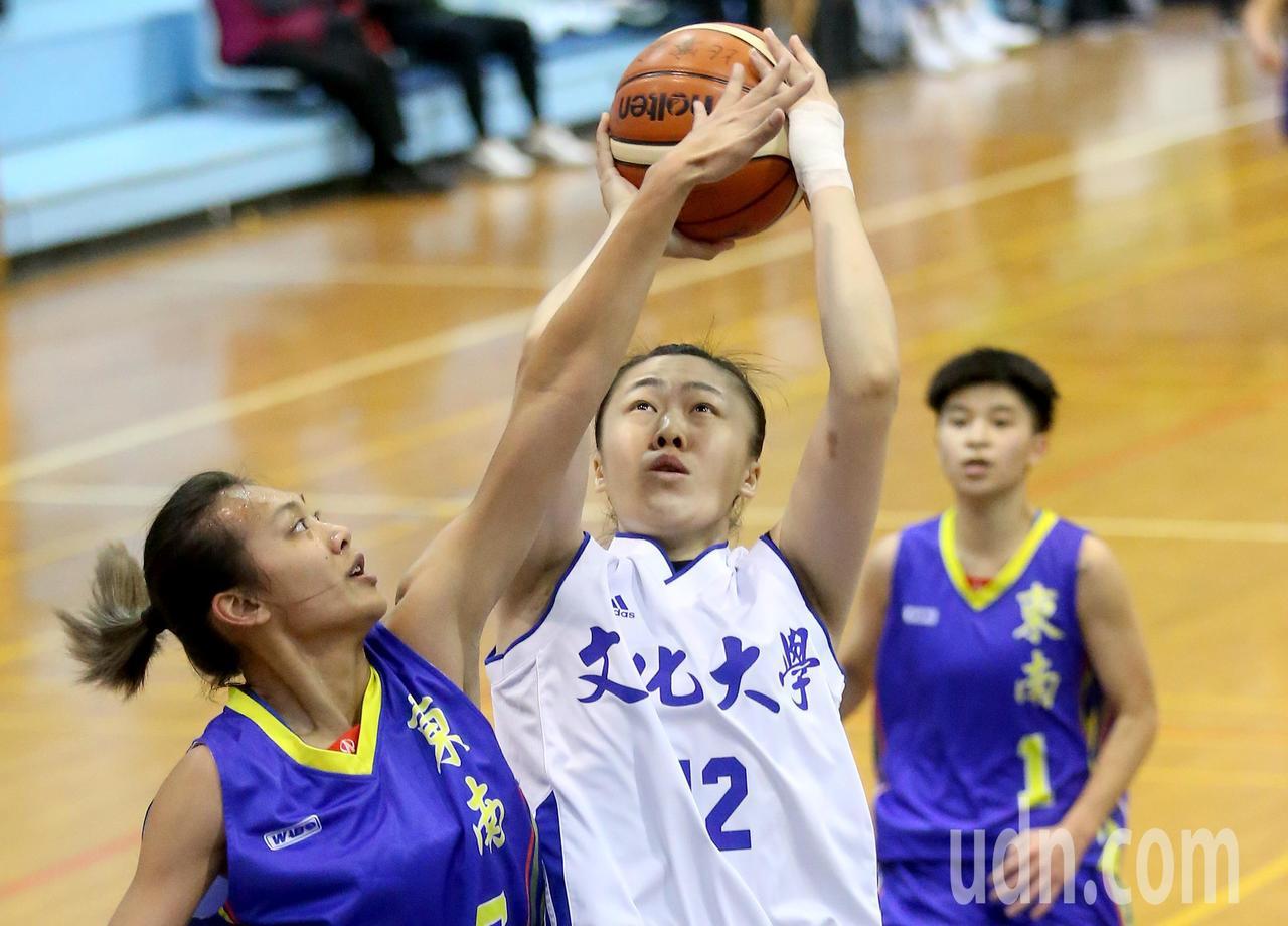 UBA大專籃球聯賽在台灣科大進行女子組賽事,文化大學蘇怡菁(中)攻下生涯新高的2...