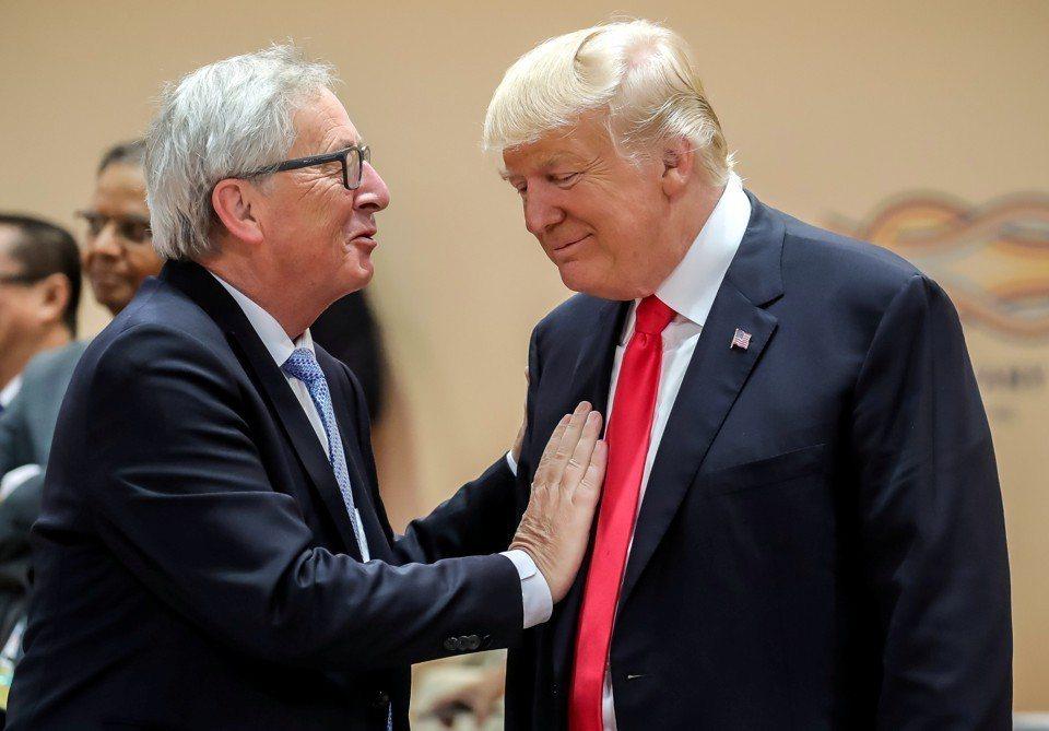 歐盟執委會容克與美國總統川普。路透