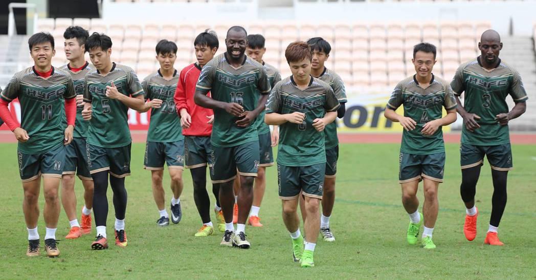 航源FC今天下午進行最後備戰。 圖/航源FC提供