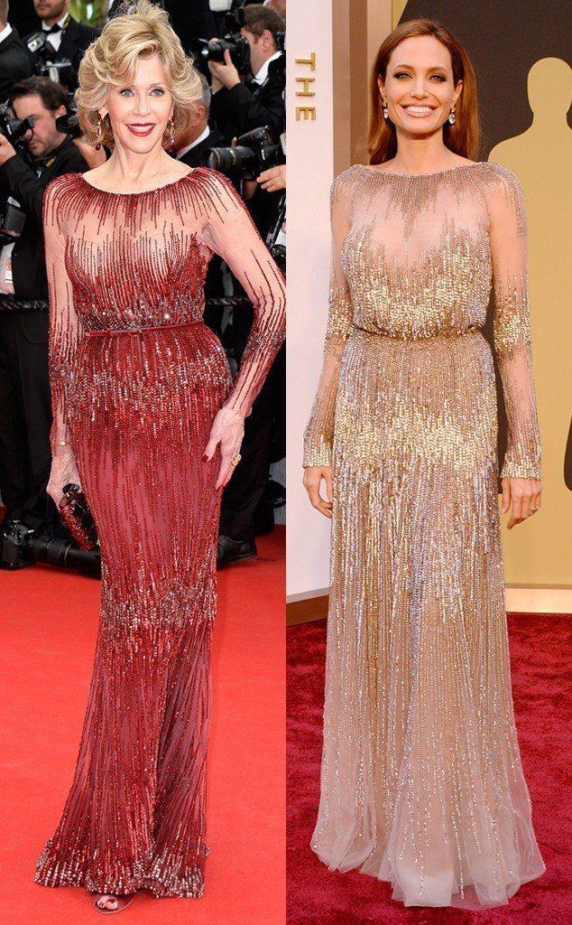 珍芳達曾經與安潔莉娜裘莉穿過同款不同色的Elie Saab訂製服,所展現出的效果...