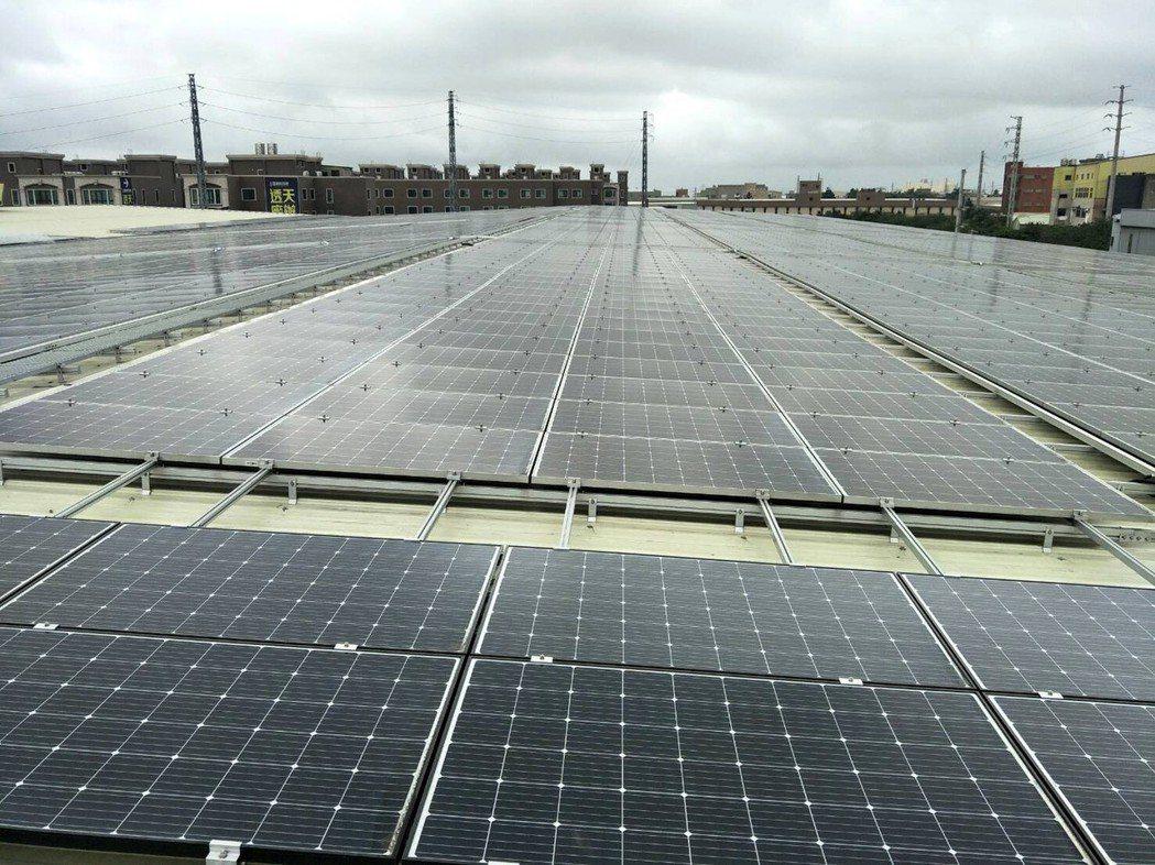 大統精密染整廠屋頂建置太陽能板發電示範中心年發電158萬度,成為桃園第一座產業屋...