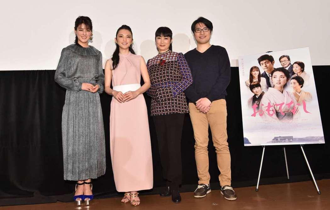 「盛情款待」東京首映,左起:藤井美菜、田中麗奈、余貴美子,導演陳鈺杰。圖/華映提