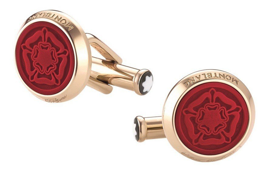 喬登皮爾配戴的萬寶龍文學家系列威廉莎士比亞金色圓型袖扣,10,400元。圖/萬寶...