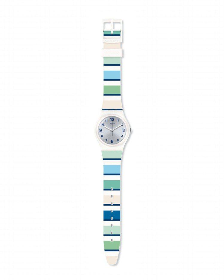 SWATCH 情迷地中海系列 MARINAI藍色港灣腕表,1,900元。圖/Sw...