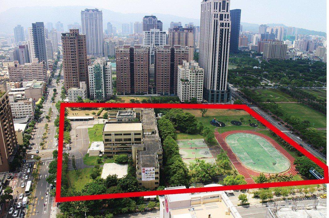 富邦人壽以78億780萬標得高雄龍華國小舊址11,636坪地上權(紅線標示)。 ...