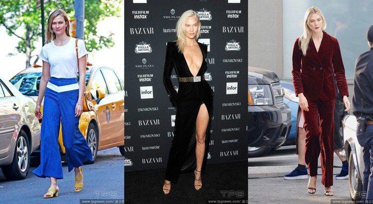 Karlie Kloss 喜歡簡約穿搭,純色、少花樣是她的最愛。圖/達志影像