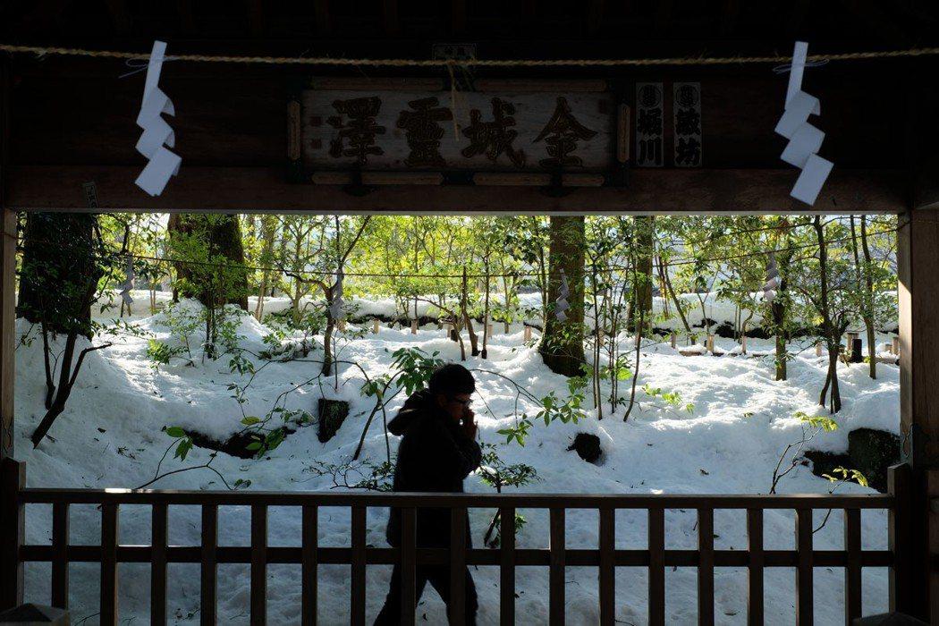 接著穿越鳥居來到金城靈澤前, 先站在水澤前定心,誠心想好要祈求的金運相關願望。