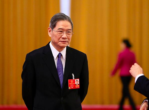 中國大陸全國人大代表、中共中央台辦、國務院台辦主任張志軍在「部長通道」上接受媒體...