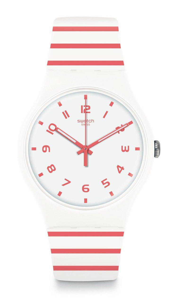 SWATCH 情迷地中海系列 REDURE亮紅條紋腕表,2,350元。圖/Swa...