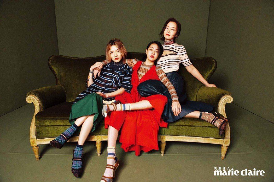 范曉萱(左起)、小S、阿雅閨密合體受訪,大談年輕時的瘋狂趣事。圖/Marie C...
