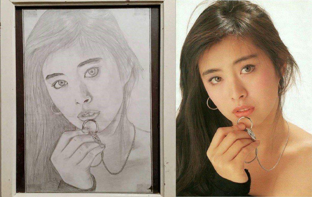 王祖賢展示多年前同學為她畫的像,以她昔日著名的海報為藍本。圖/摘自臉書、sano