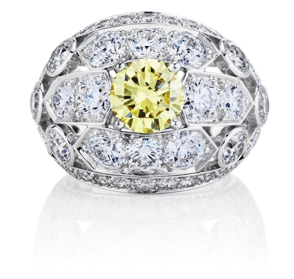 De Beers Phenomena Frost 高級珠寶黃鑽戒指 靈感來自光照...