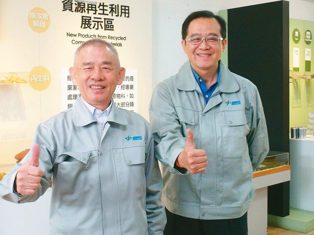 綠電再生董事長洪敏昌(左)與總經理隋學光。 記者何佩儒/攝影