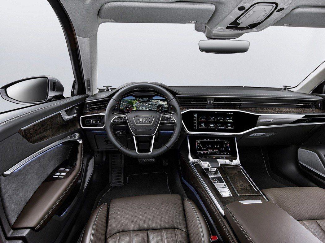 Audi A6的中控台採雙層螢幕設計,上方10.1吋與下方8.6吋。  Aud...