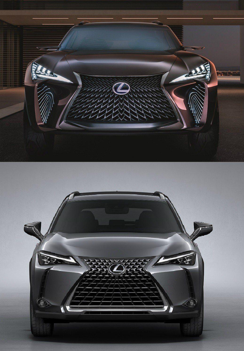 車頭的部分,上頭為UX Concept,下圖為UX。 摘自Lexus