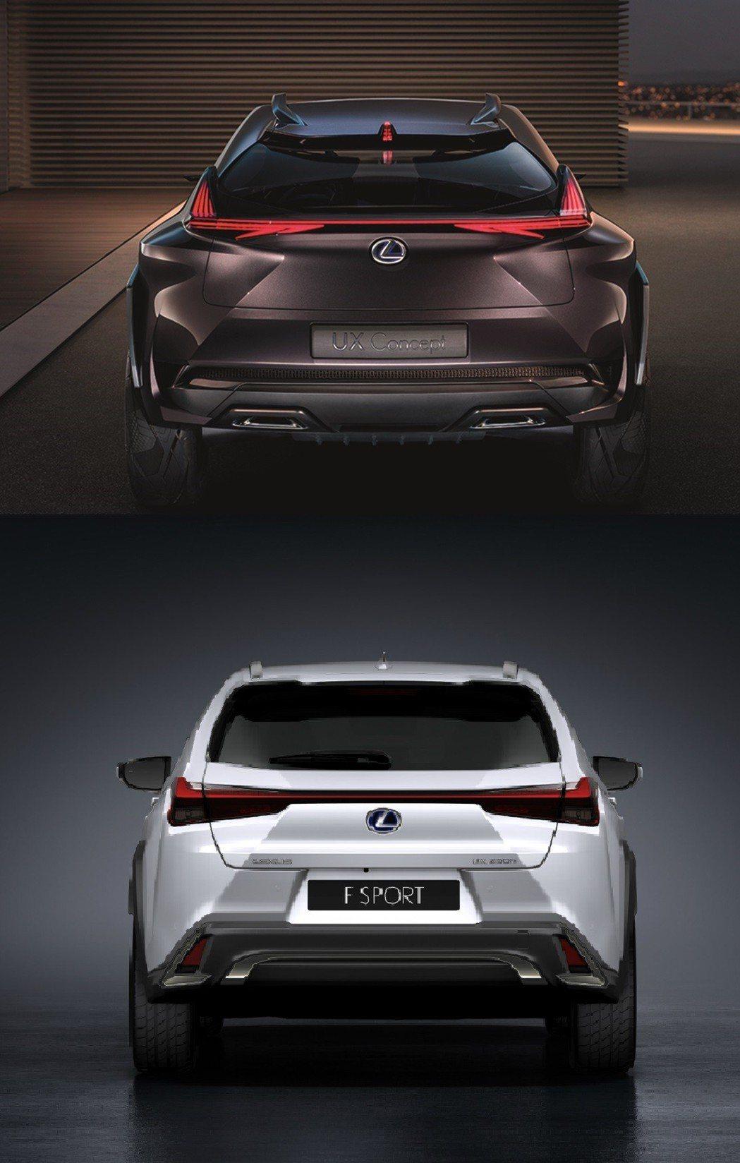 車尾的部分,上頭為UX Concept,下圖為UX。 摘自Lexus