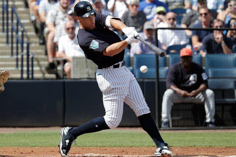 賈吉有單季50轟的長打實力,但本季可能會有幾場比賽擔任洋基隊的第一棒打者。 美聯...