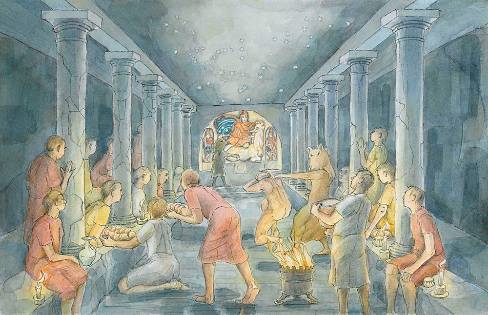由插畫家Judith Dobie繪製的London Mithraeum祭典想像圖...