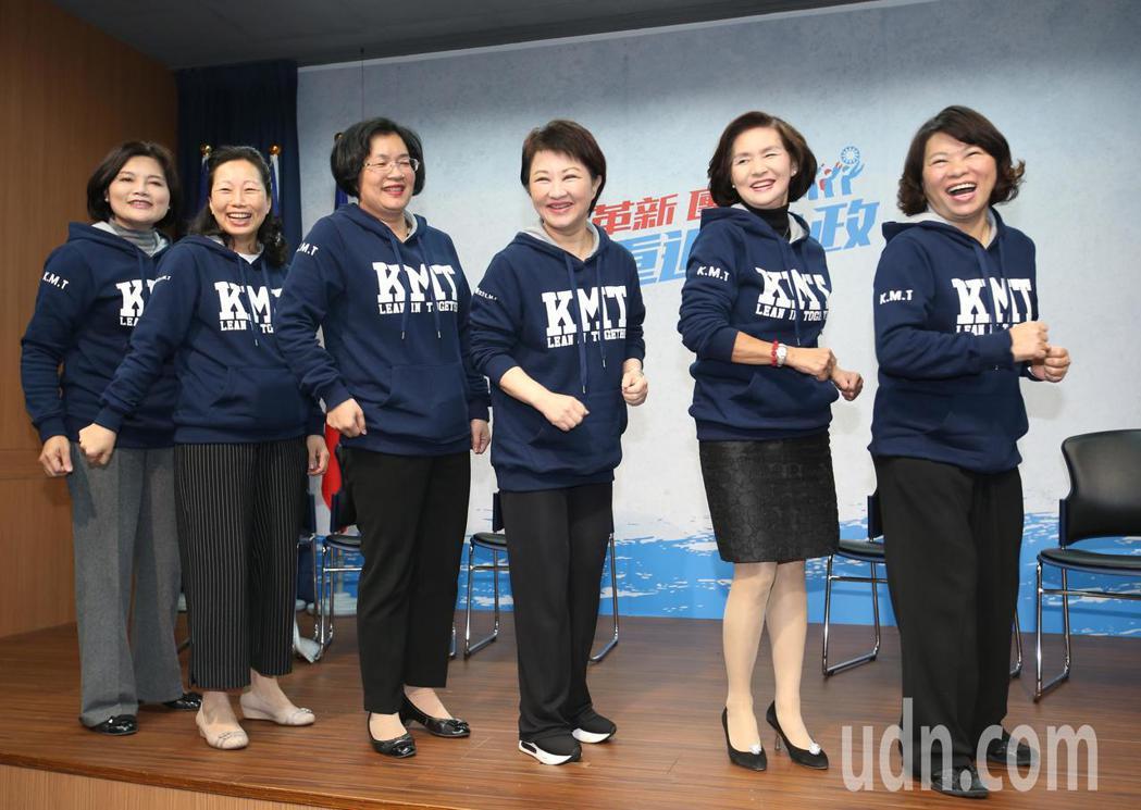 國民黨舉行「國民新女力、加油我挺女」記者會,獲黨內提名的雲林縣張麗善(左起)、花...