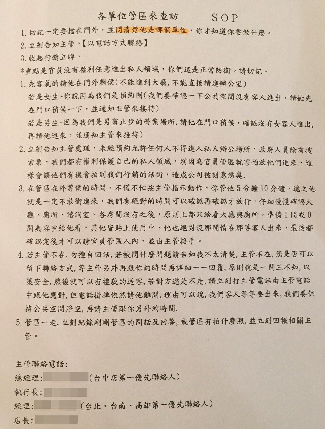 警方在店內發現各單位管區來查訪的SOP。記者劉星君/翻攝