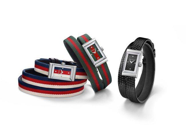 古馳G frame系列不鏽鋼腕錶搭配紅綠、紅白藍彩色織帶,30,000元起。圖/...