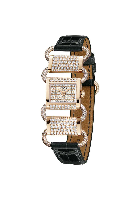 愛馬仕Klikti玫瑰金珠寶腕表全鑲鑽款,251萬1,100元。圖/愛馬仕提供