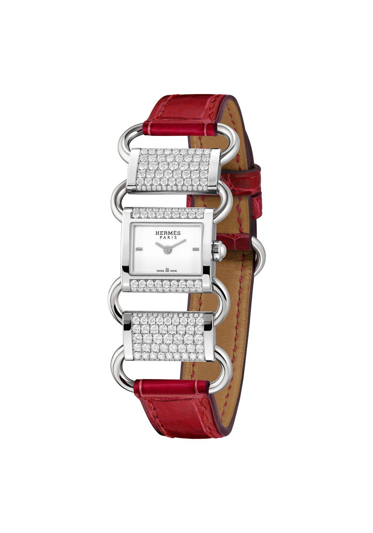 愛馬仕Klikti白K金珠寶腕表部分鑲鑽款,125萬5,500元。圖/愛馬仕提供