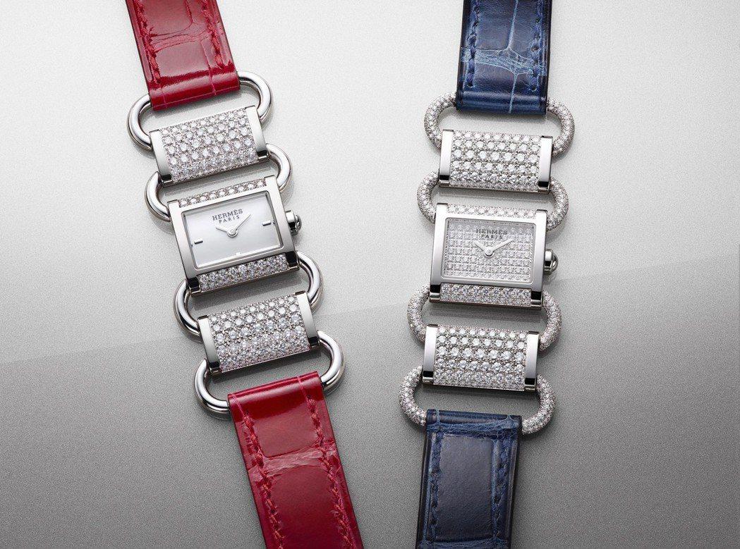 愛馬仕Klikti白K金珠寶腕表,(左)全鑲鑽款263萬6,000元;(右)部分...