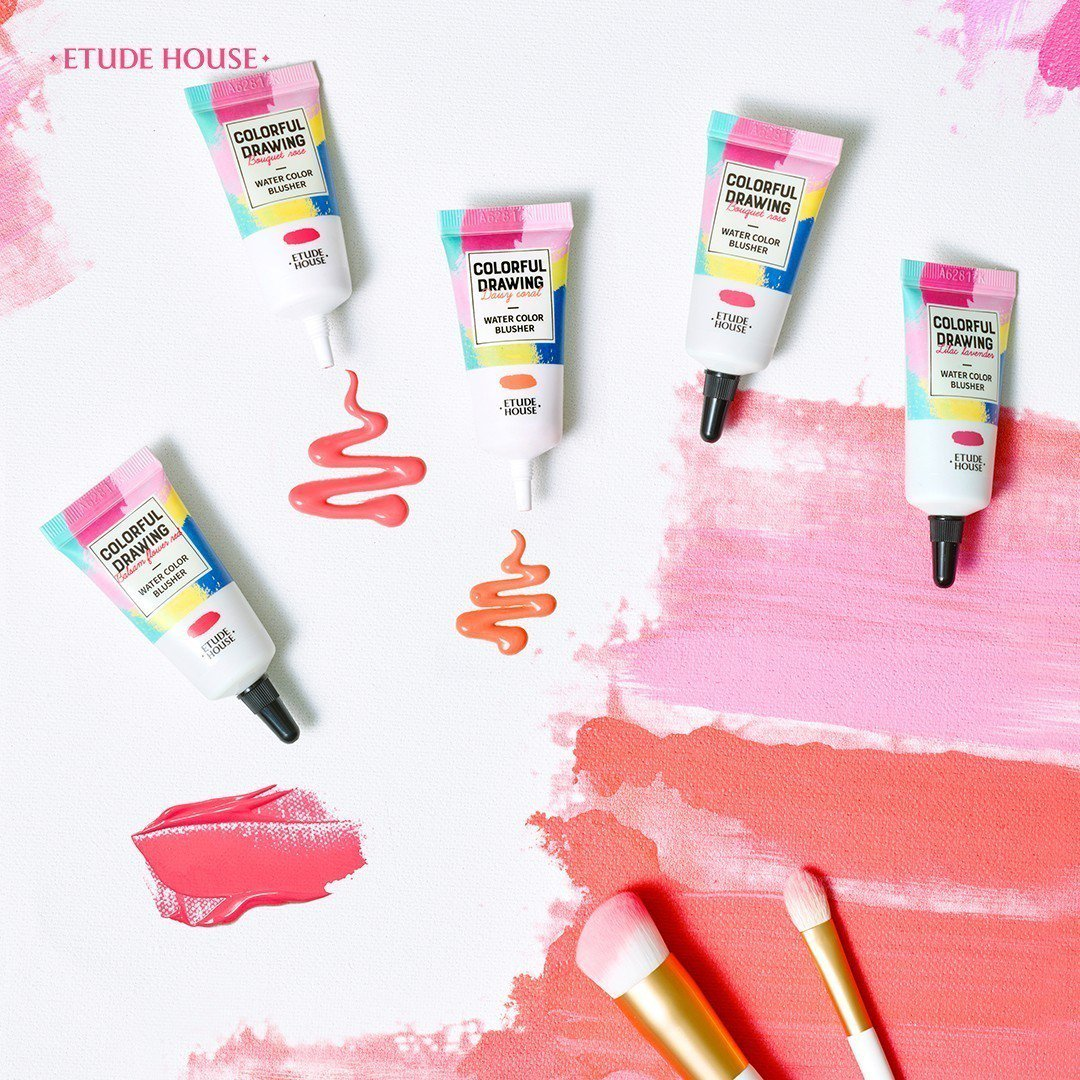 ETUDE HOUSE彩色藝廊~高度顏展水彩腮紅露運用水彩顏料概念,推出軟管造型...