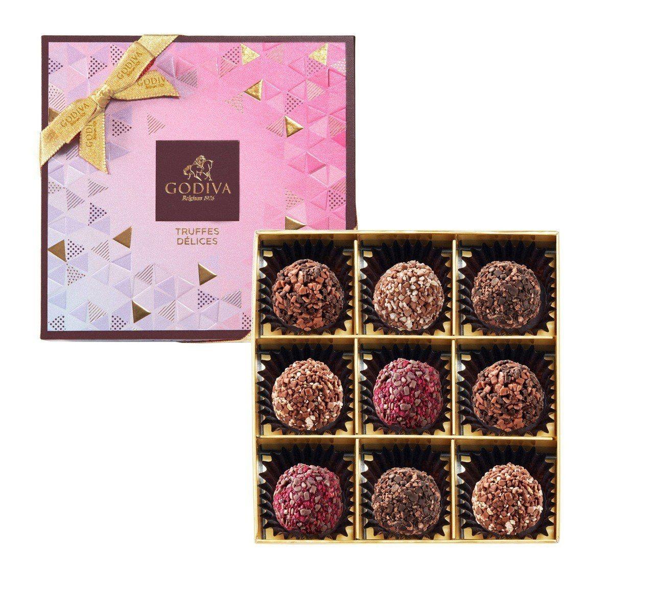 璀璨系列松露巧克力禮盒9顆裝,售價1,150元。圖/GODIVA提供