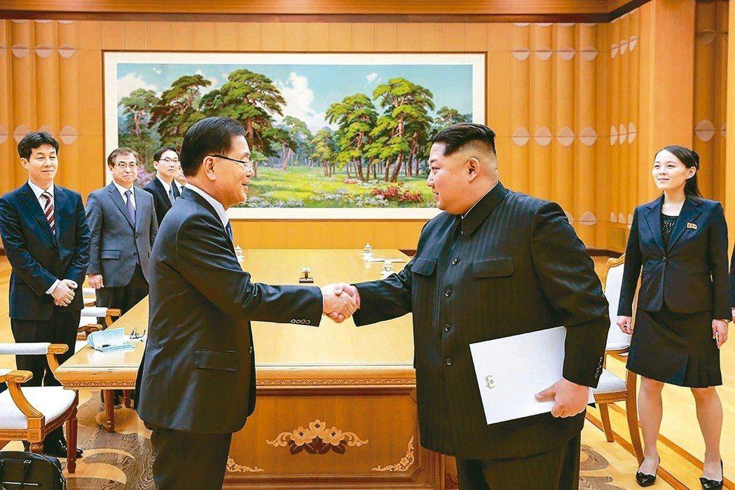 北韓領導人金正恩(右二)五日在平壤和南韓特使鄭義溶握手,金正恩胞妹金與正(右)也...