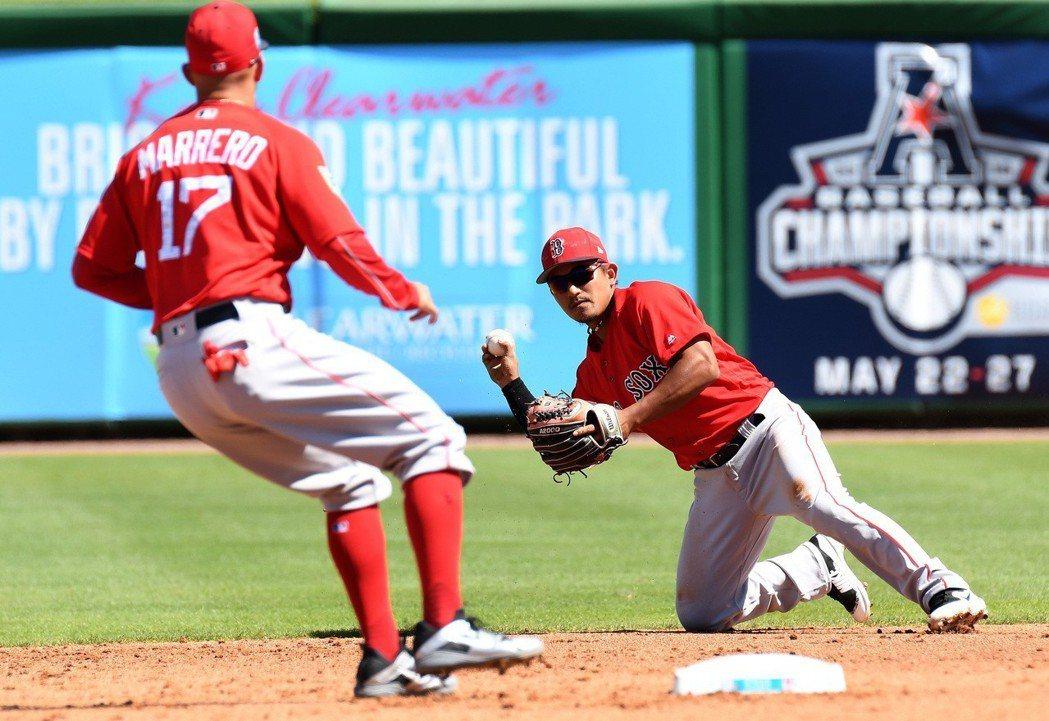 效力紅襪的旅美小將林子偉今天在熱身賽擔任先發三壘手,守備上策動一次雙殺還幫忙抓到...