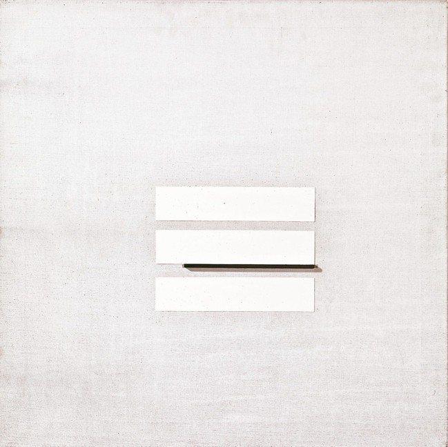 西班牙畫家米羅曾讚林壽宇:「在白色的天地裡,沒人比得上你。」圖為林壽宇作品《四》...