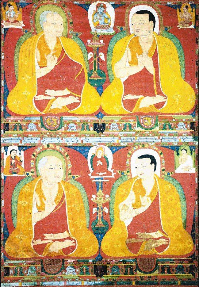 四噶舉大師唐卡 圖/蘇富比提供