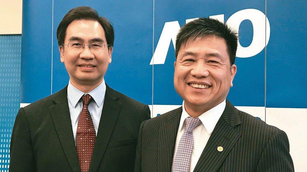 友達董事長彭双浪(右)與總經理蔡國新。 記者李珣瑛/攝影